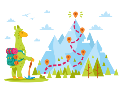 Homepage and Mascot Design for Clar.io hiking mountains digital graphic landing page web design website green homepage ux ui vector animal character funny cartoon flat illustration llama mascot