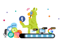 Clar.io Features Page Illustrations animal company graphic design features solutions social community people services website icon ux ui llama character funny cartoon flat mascot illustration