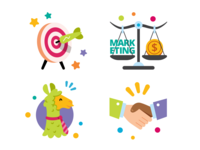Clar.io About Website Icons company business website handshake target funny solution colorful llama marketing ui ux vector cartoon flat mascot illustration icon set icon icons