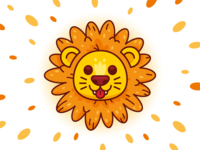 Dandelion graphic design art flower lion head sweet outline kids children vector creative animal cute logo funny cartoon flat mascot illustration dandelion lion