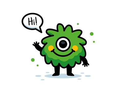 Cute Monster children smile outline silly creature emoji emoticon green sweet sticker icon logo character funny cartoon flat mascot illustration cute monster
