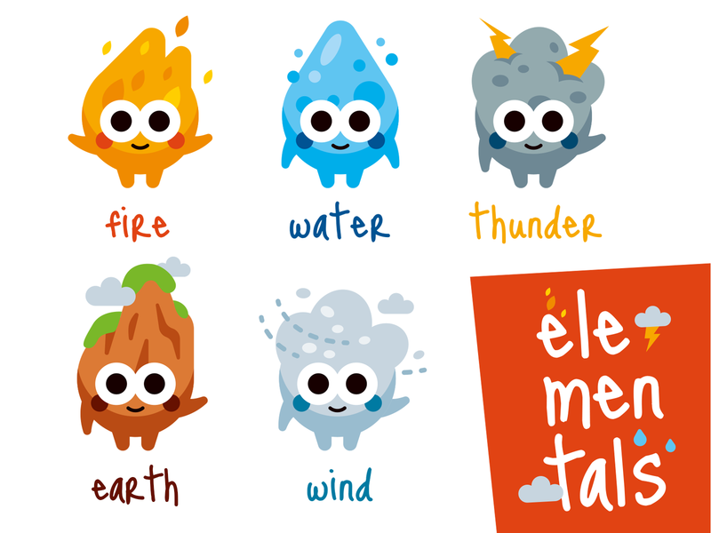 Elemental Characters icons set icons colorful weather kawaii emoji cute vector water thunder earth elementals wind fire characters funny cartoon flat mascot illustration