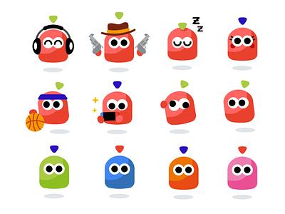 Mipmapp Characters geek graphic minimal happy music emoticon emoji basketball star wars design vector creative cute character funny cartoon flat mascot illustration videogame