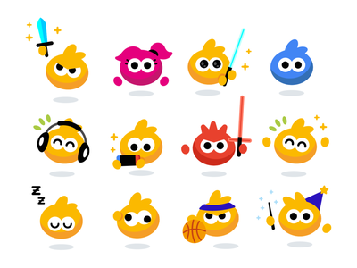 Mipmapp Characters geek graphic minimal happy music emoticon emoji basketball star wars design vector creative cute character funny cartoon flat mascot illustration videogame