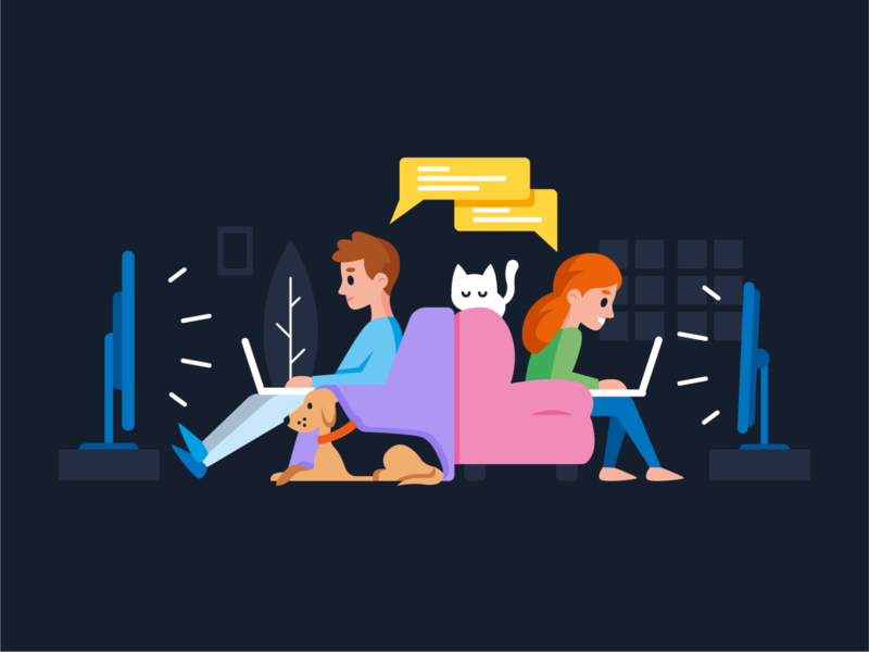 Illustration homepage for Streamlounge.io netflix chat creative home cat dog social landing page graphic digital app streaming ui ux vector funny cartoon flat mascot illustration