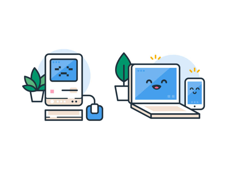 Old Technology and New Technology digital emoticon emoji outline icons smile kawaii phone computer laptop mac ui ux vector cute funny cartoon flat mascot illustration