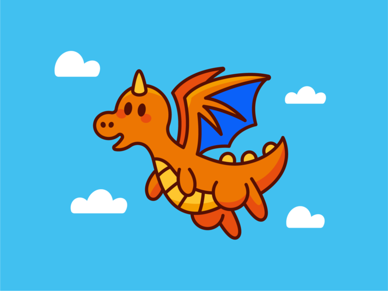 The Dragon of Cuddles silly quirky magic outline creative kids children digital sticker pokemon dragon fantasy vector cute logo funny cartoon flat mascot illustration