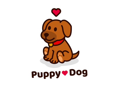 Puppy Dog veterinary children pet shop outline doggy adorable sweet love puppy dog vector animal cute logo character funny cartoon flat mascot illustration