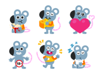 Mouse Mascot Emoji graphic design application kids app kids children mice mouse emoticon emoji sticker vector animal cute logo character funny cartoon flat mascot illustration
