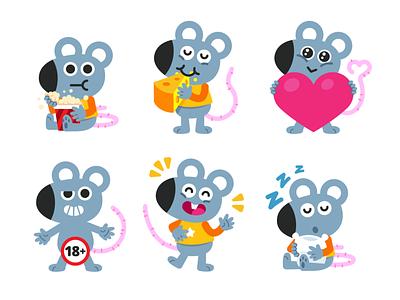 Mouse Mascot Emoji graphic design application kids app kids children mice mouse emoticon emoji sticker vector animal cute logo character funny cartoon flat mascot illustration