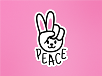 Bunny Peace Hand illustration funny cartoon love flat peace gesture cool hand animal rabbit bunny sticker mule playoffs keychains jewelry free giveaway contest charms stickermule