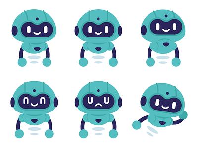Robot Mascot Design futuristic icon emoticon emoji modern technology sweet digital android robot design vector cute logo character funny cartoon mascot flat illustration
