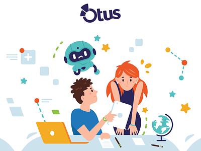 Illustrations for Otus - 2 android robot website digital tech student homework back to school teacher school design creative vector cute character funny cartoon mascot flat illustration