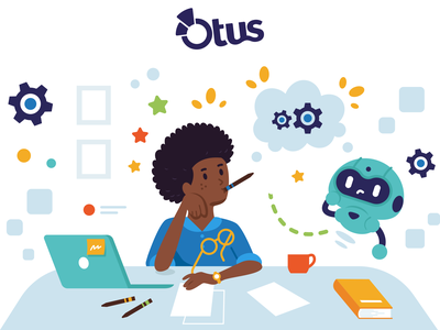 Illustrations for Otus - 3 creative graphicdesign study student afro idea thinking solution school android robot laptop design vector cute character funny cartoon mascot flat illustration