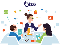 Illustrations for Otus - 9 teamwork company business woman people graphic design tablet analytics studio marketing data analysis icons meeting characters creative vector funny cartoon flat illustration team