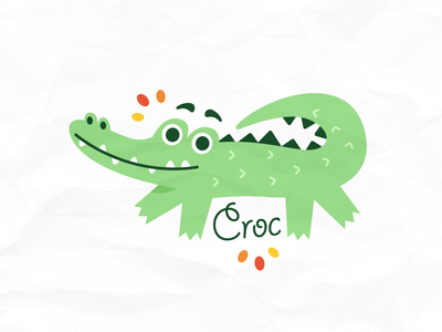 Cute Crocodile Animal Logo scrapbook clipart happy quirky silly kids children alligator crocodile sweet sticker vector animal cute logo funny cartoon mascot flat illustration