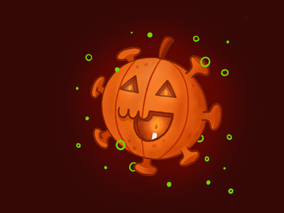 Happy Halloween - Stay Safe wallpaper digital art stay safe weekly warm-up scary graphicdesign icon outline mascot procreate character funny cartoon flat illustration covid pumpkin spooky dribbble halloween