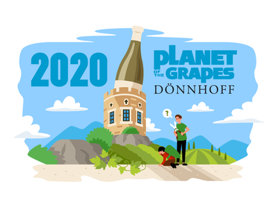 Dönnhoff 2020 t-shirt design company laugh agriculture celebration planet of the apes vineyards appetizer drink drinking digital art landscape castle creative winery wine vector funny cartoon flat illustration t-shirt design