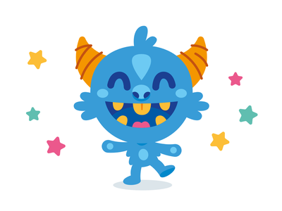 Sweet Monster Character kids illustration mascot flat cartoon funny character logo cute vector sticker monster creature silly quirky happy kawaii children kids icon alien