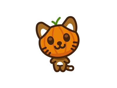 Pumpkin kitty kids children graphic design adorable sweet cute kawaii sticker creative animal funny cartoon mascot flat illustration happy halloween spooky cat kitty pumpkin