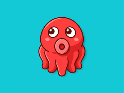 Cute Octopus Mascot emoji pictorial minimal sea red kawaii octopus outline graphic design icon vector animal logo cute character funny cartoon mascot flat illustration