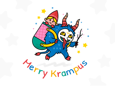 Merry Krampus graphicdesign creative kids children colorful outline horror magic fantasy spooky creature monster vector cute character funny cartoon mascot flat illustration