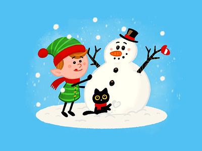 Merry Christmas Folks! children kids jingle bells winter snow procreate sketch cute holidays graphic design character xmas merry christmas snowman animal cat elf cartoon mascot flat illustration