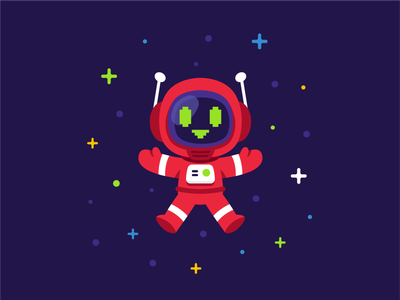 Mascot Design for The Programming Expert web development technology funny coding programming graphic design vector logo 8bit icon galaxy android spaceman digital character cartoon flat illustration robot mascot