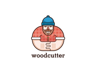 Revisited Woodcutter for Logoturn.com design vector character logo cartoon flat mascot illustration hat woodcutter lumberjack cutter wood tree strong solid pop funny beard flannel