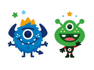 Monster & Alien Mascot graphic design happy children book illustration colorful vector creative logo character funny cartoon kindergarten kids sweet cute illustration flat mascot alien monster children