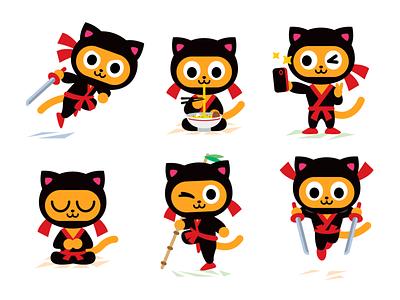 Ninja Kitty Character Mascot beer ramen selfie emoticon emoji katana ninja kitty cat icons vector animal cute logo character funny cartoon mascot flat illustration