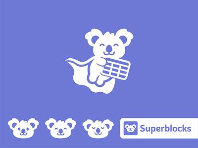 Superblocks Mascot Logo Design company graphic design purple vector branding app icon creative character funny brand flat minimal animal identity superhero logo mascot koala