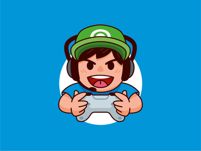Gamer Boy Character Mascot entertainment emoticon icon joypad outline nerd geek videogame gamer logo streamer youtuber twitch gamer funny logo character cartoon flat mascot illustration