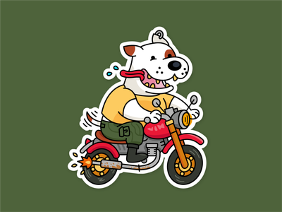 Freedom Barks Funny Dog Mascot badge label funny retro vintage motorcyle motorbike harley davidson pitbull dog t-shirt sticker vector animal logo character cartoon flat mascot illustration