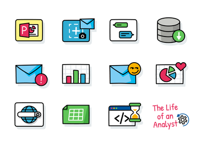 Cartoon Outline Icons Set Design app analysis emoji emoticon mail creative icons pack coding web analyst graphic design icon outline vector logo cartoon flat illustration icons set icons
