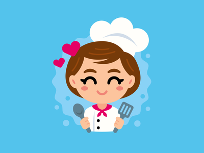 Chef Avatar Girl Mascot kawaii girl icon avatar cooking food love chef restaurant sweet sticker vector cute logo character funny cartoon mascot flat illustration