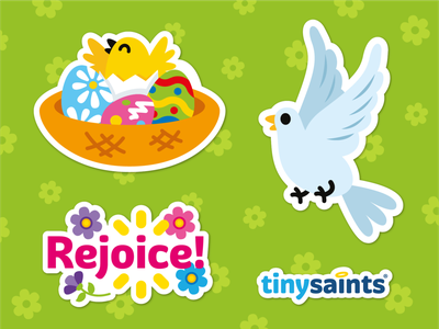 Easter Stickers for TinySaints children sticker design colorful graphic design spring flowers cute funny easter egg hunt bird nest dove animal easter stickers cartoon mascot flat illustration