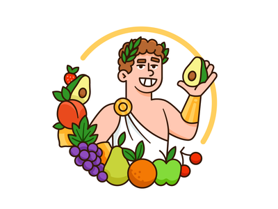 God of Fruit Logo Design spring nature natural creative avocado greek outline apple fruit food mediterrean god sticker vector logo character funny cartoon mascot flat illustration