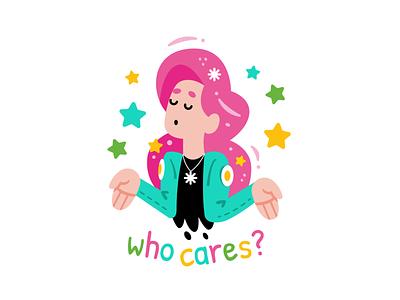 Who Cares? 90s beauty rebel slogan lifestyle pop art feminine sticker vector cute logo character cartoon 80s style trendy fashion girl mascot flat illustration