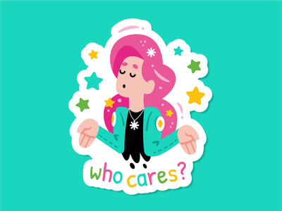 Who Cares? 90s beauty rebel slogan lifestyle pop art feminine sticker vector cute logo character cartoon 80s style trendy fashion girl mascot flat illustration