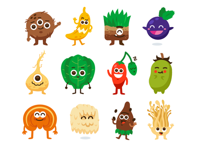 Food Monsters! healthy kawaii food supply fruits vegetables creatures quirky silly cute mushrooms banana graphic design characters funny cartoon mascot flat illustration monsters food