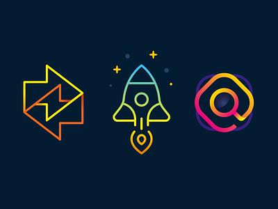 Minimal Logos brand digital colors vector hidden message mark identity creative thunder symbol lineart design icons search rocket branding logo flat minimal logos