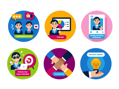 Icons Design for EQT.com company graphic design funny business rewards badges solutions teamwork company branding vector branding character icon set colorful iconset creative cartoon flat illustration icons