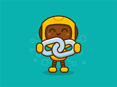 Blockchain Robot Mascot nft kids technology tech sticker kawaii outline androind crypto cryptocurrency blockchain vector cute logo character funny cartoon mascot flat illustration
