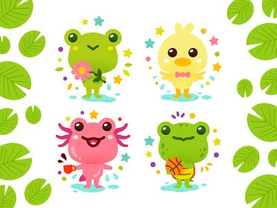 Sweet Pond Animals kindergarten baby animals children duck axolotl pond turtle toad frog sickers creative vector characters animals cute funny cartoon mascot flat illustration