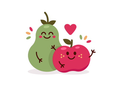 Pear & Apple Characters graphic design kids children sticker sweet heart healthy kawaii food kawaii vector cute mascot logo character cartoon flat illustration fruits apple pear
