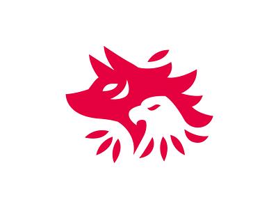Wolf & Eagle spiritual mystical icon wild illustration symbol logo design creative vector animal minimal indian hidden message silhoutte flat wolf eagle mark brand logo