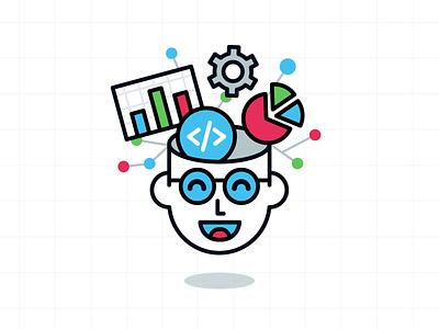 Genius Logo Design idea vector smart branding emoji outline icon infographic design illustration genius analysis coding code character mascot flat funny cartoon logo
