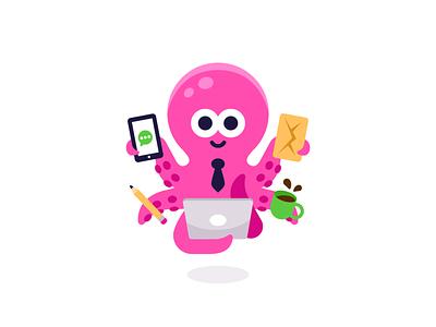 Multitask Octopus vector icon coffee multitask cute digital smart graphic design business office pink animal octopus logo character funny cartoon mascot flat illustration