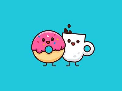 Breakfast! Donut & Coffee vector graphic design drink meal food children outline logo character funny cartoon mascot flat illustration kawaii sweet cute breakfast coffee donut
